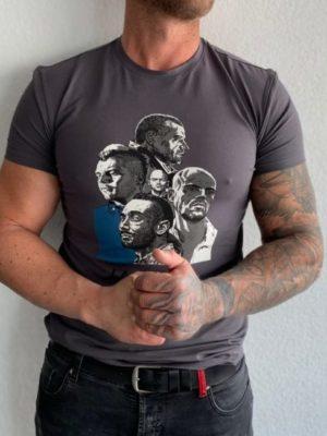 Grey La familia 'Ekiwa Tshirt - Dark grey ribbed washed 'Xplct' jeans