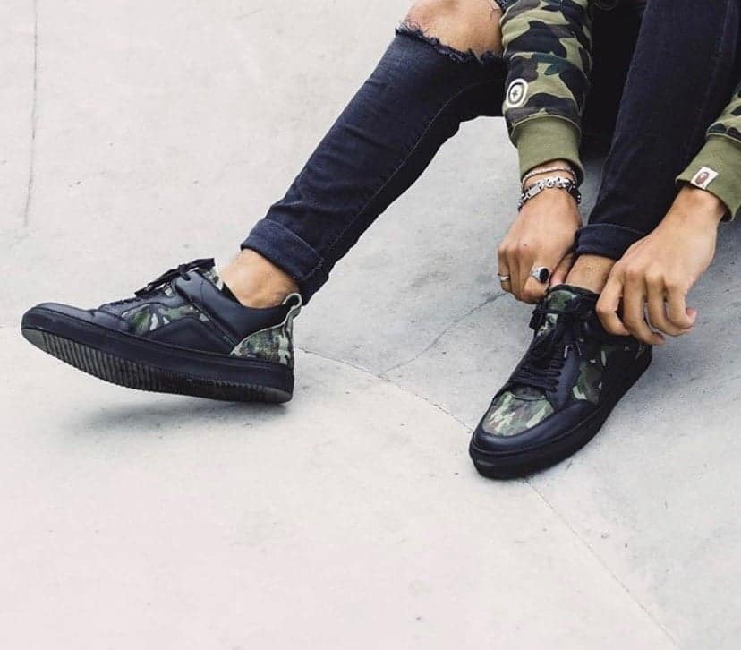 Black Camo Leather 'Luzerno' shoes
