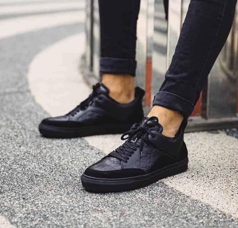Black Croco Leather 'Luzerno' shoes