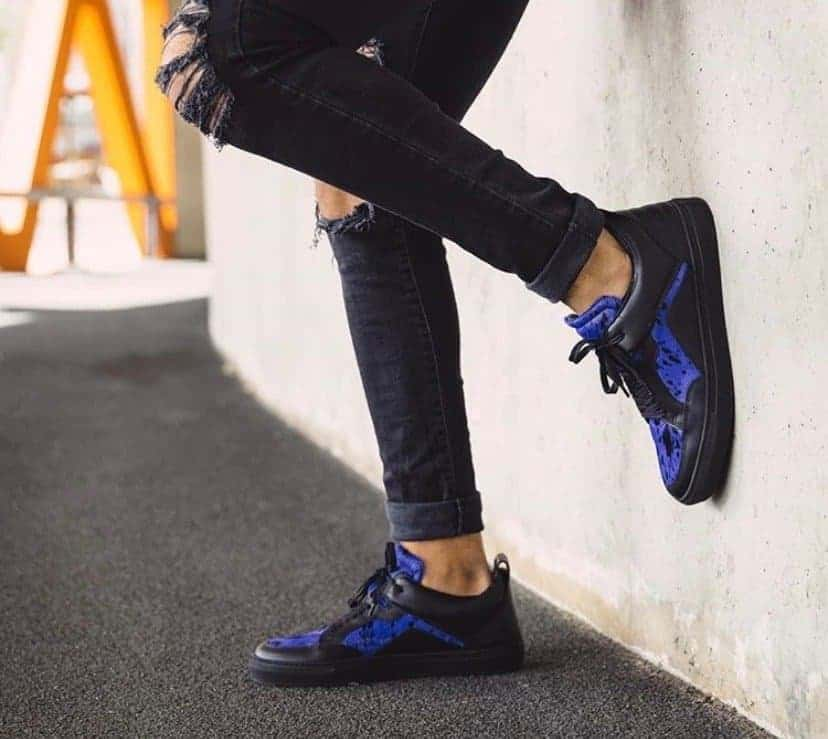 Black with blue leather 'Luzerno' shoes