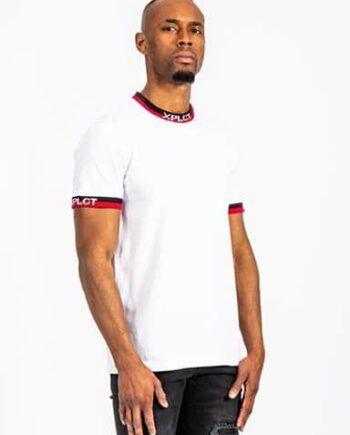 Ami Tee white XPLCT - wit t-shirt met aansluitende boorden