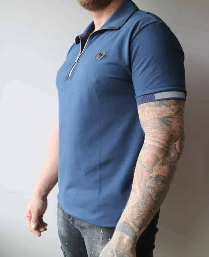 Blue Polo Ghost - blauw polo shirt met rits