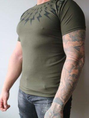 Green Lightning Tee Ghost - groen shirt met zwarte bliksemschichten