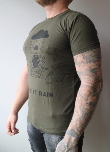 Green Ekiwa Make It Rain - groen t-shirt met zwarte afbeelding