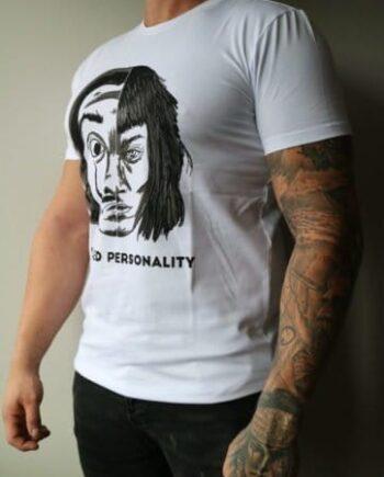 White Splitted Personality Tee Ekiwa - wit shirt met grote afbeelding op de voorkant