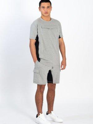 Grey Short Tracksuit XPLCT - kort sportpak in het grijs met zwart