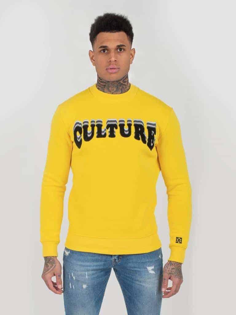 Yellow Culture Sweater XPLCT - gele trui met afbeelding