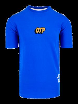 Blue Time is Money Tee OTP - blauw shirt met gouden afbeeldingen