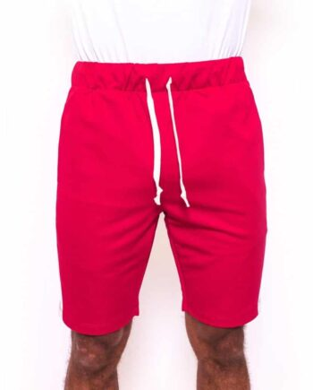 Bordeaux/off white Trackshort Radical - korte bordeaux rode broek