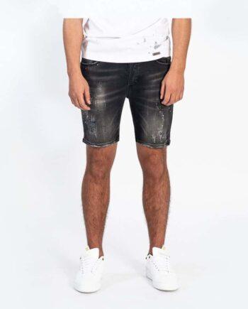 Black Travis Short Jeans - zwarte korte spijkerbroek met verfspetters en aangebrachte beschadigingen