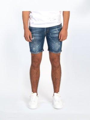 Denim Travis Short Jeans - korte spijkerbroek met verfspetters en aangebrachte beschadigingen