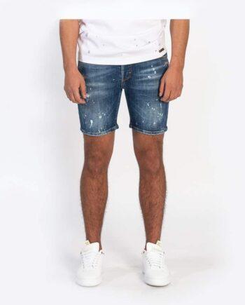 Deniw Lewis Short Jeans - korte blauwe spijkerbroek met verfspatters en lichte beschadigingen
