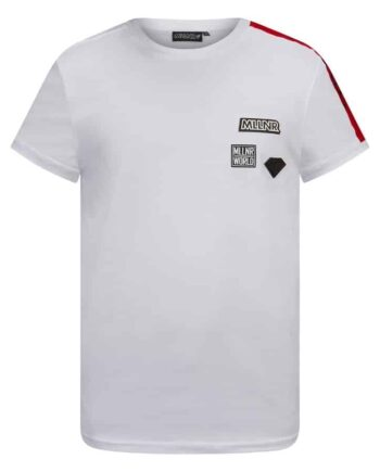Voorkant van witte MLLNR Rocco shirt met rode elementen