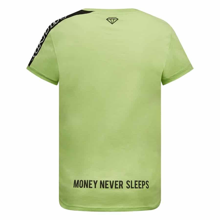 Achterkant van groene MLLNR Rocco shirt Money Never Sleeps