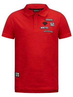 Rode MLLNR Damian polo shirt met embleems aan achterkant