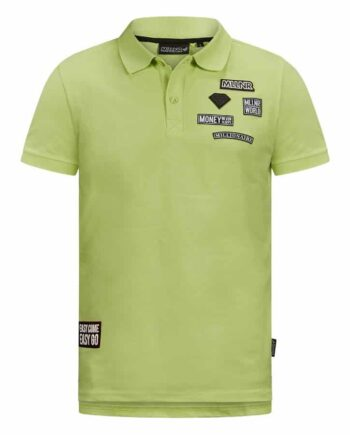Groene MLLNR Damian polo shirt met embleems op borst
