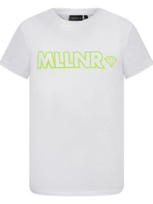 Voorkant van witte MLLNR shirt met groene fell letters