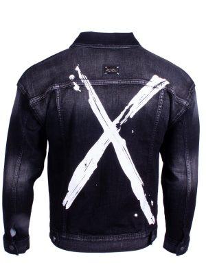 Afbeelding van achterkant zwarte jeans jacket merk Radical