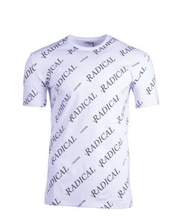 Afbeelding van wit shirt met Radical herhaaldelijk bedrukt