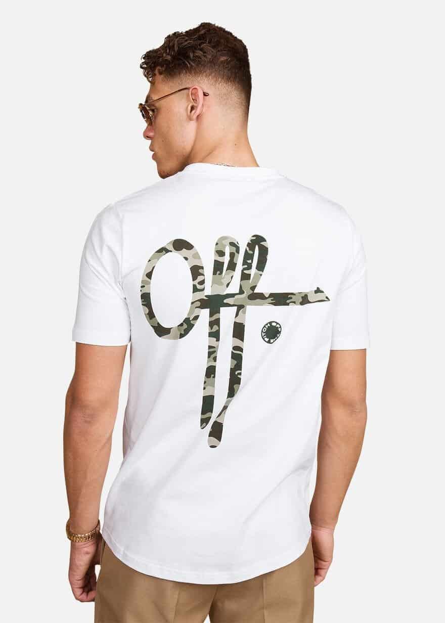 White Full Stop Camo Tee OTP - wit shirt met logo voor en achter in camouflage print
