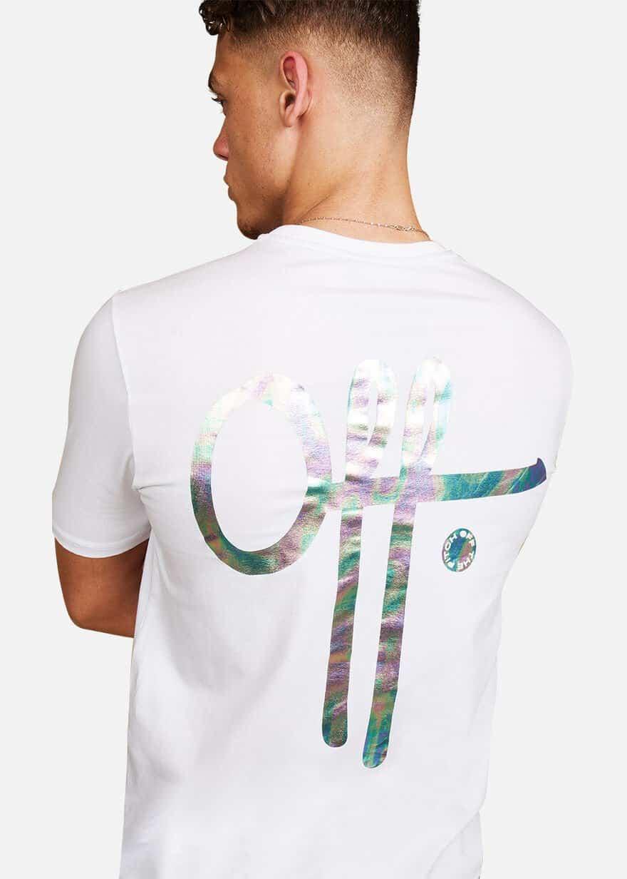 White Illuminated Tee OTP - wit shirt met reflecterende logo op voor- en achterkant