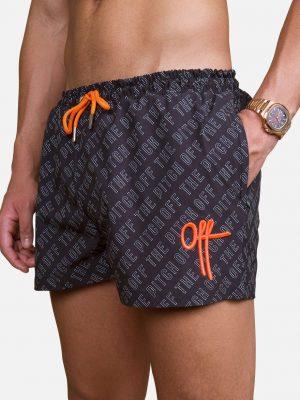 All Over You Swimshort OTP - zwart met oranje zwembroek en allover print van de brandnaam