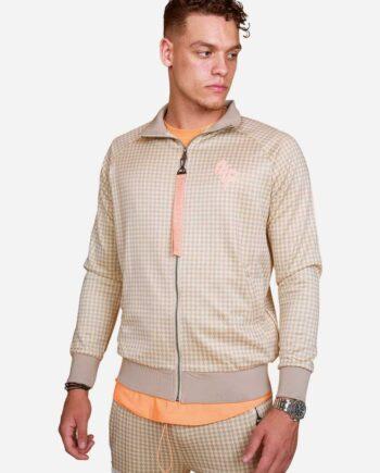 Sand PEA The Poeh Jacket OTP - zandkleur met oranje jas en pied de poule print