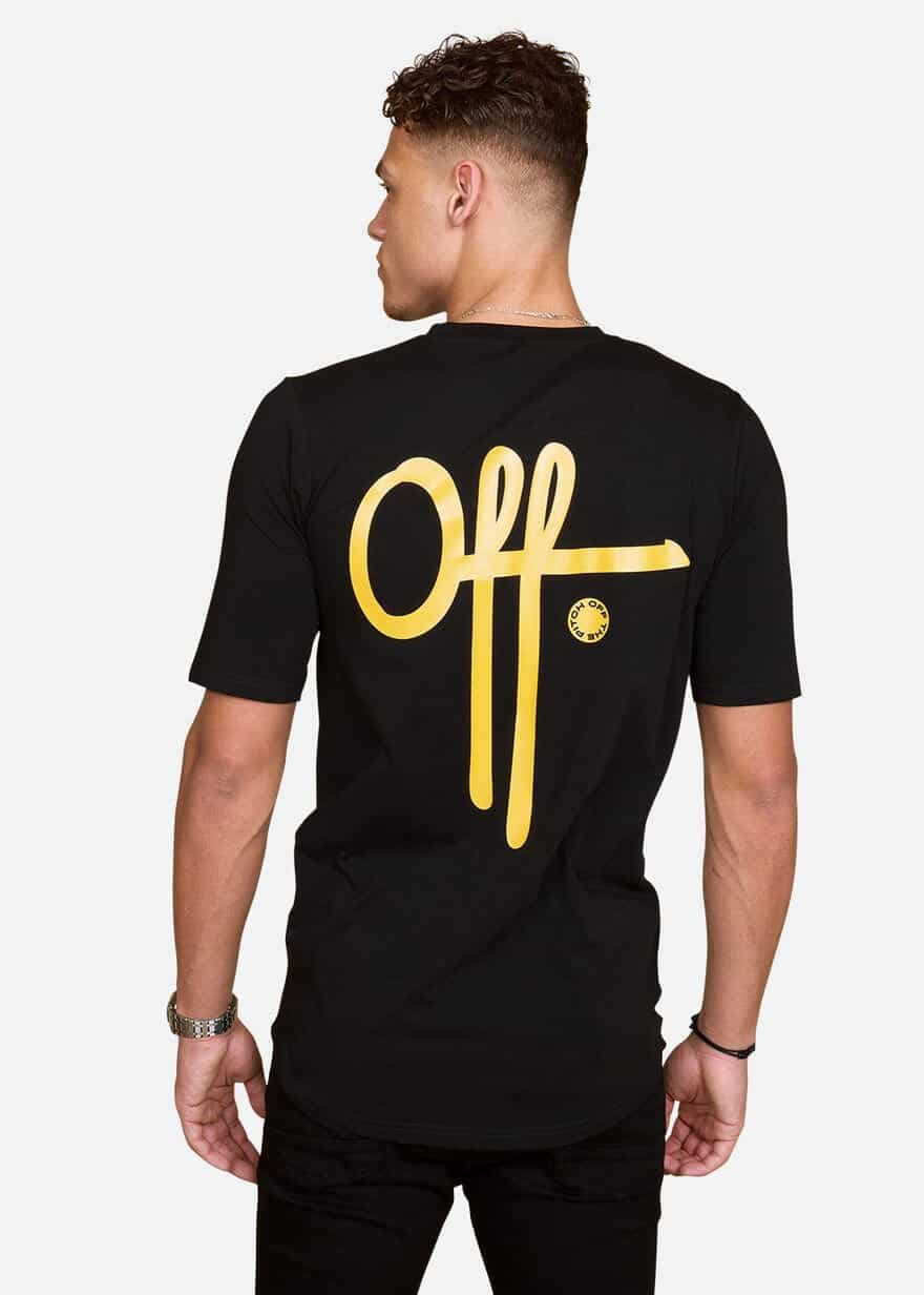 Black Yellow Full Stop Tee OTP - zwart met geel T-Shirt