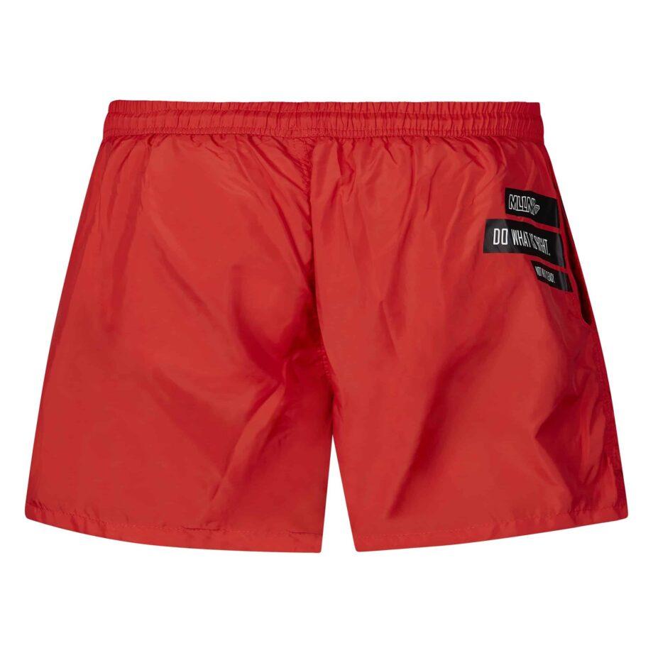 Red Liam Swimshort MLLNR - Rode zwembroek met zwarte embleems