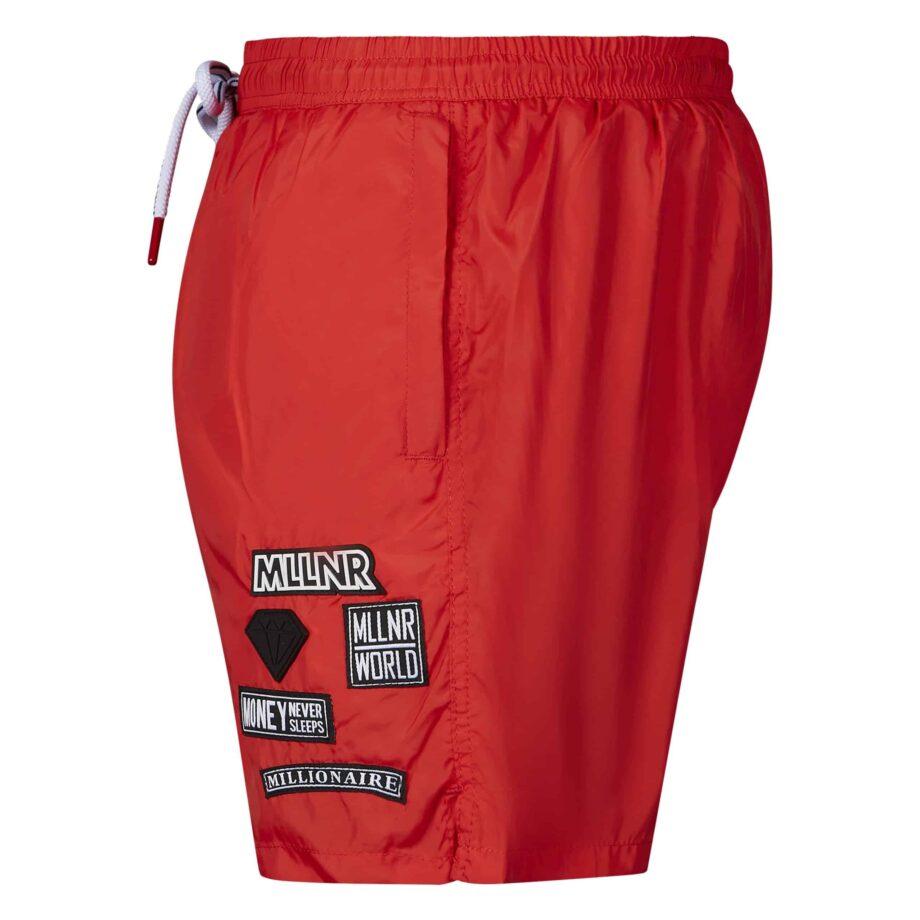 Red Liam Swimshort MLLNR - Rode zwembroek met zwarte embleems zijkant
