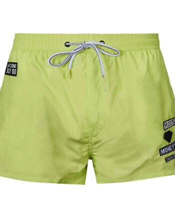 Green Liam Swimshort MLLNR - groene zwembroek met zwarte embleems
