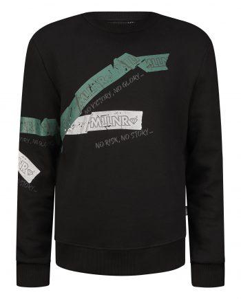 Black Lesley Sweater MLLNR - zwarte trui met wit en donkergroene labels