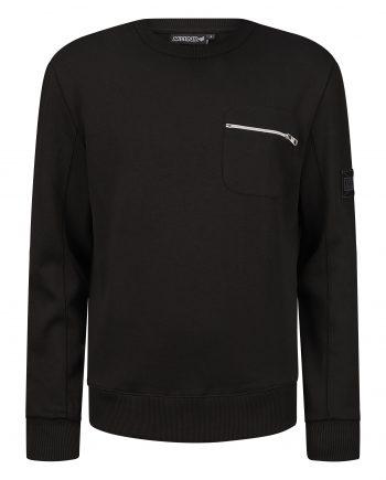 Black Silas Sweater MLLNR - zwarte trui met zak met ritssluiting op borst
