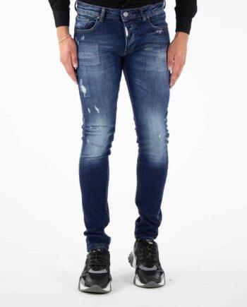 Richesse Blue Sorrento Jeans - blauwe spijkerbroek met lichte wassing en scheuren