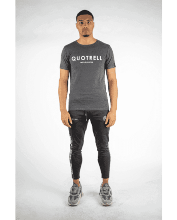 Grey Basic Tee Quotrell - grijs shirt met logo in witte letters