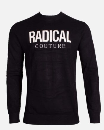Black Radical Mose Sweater - zwarte trui met witte letters on front