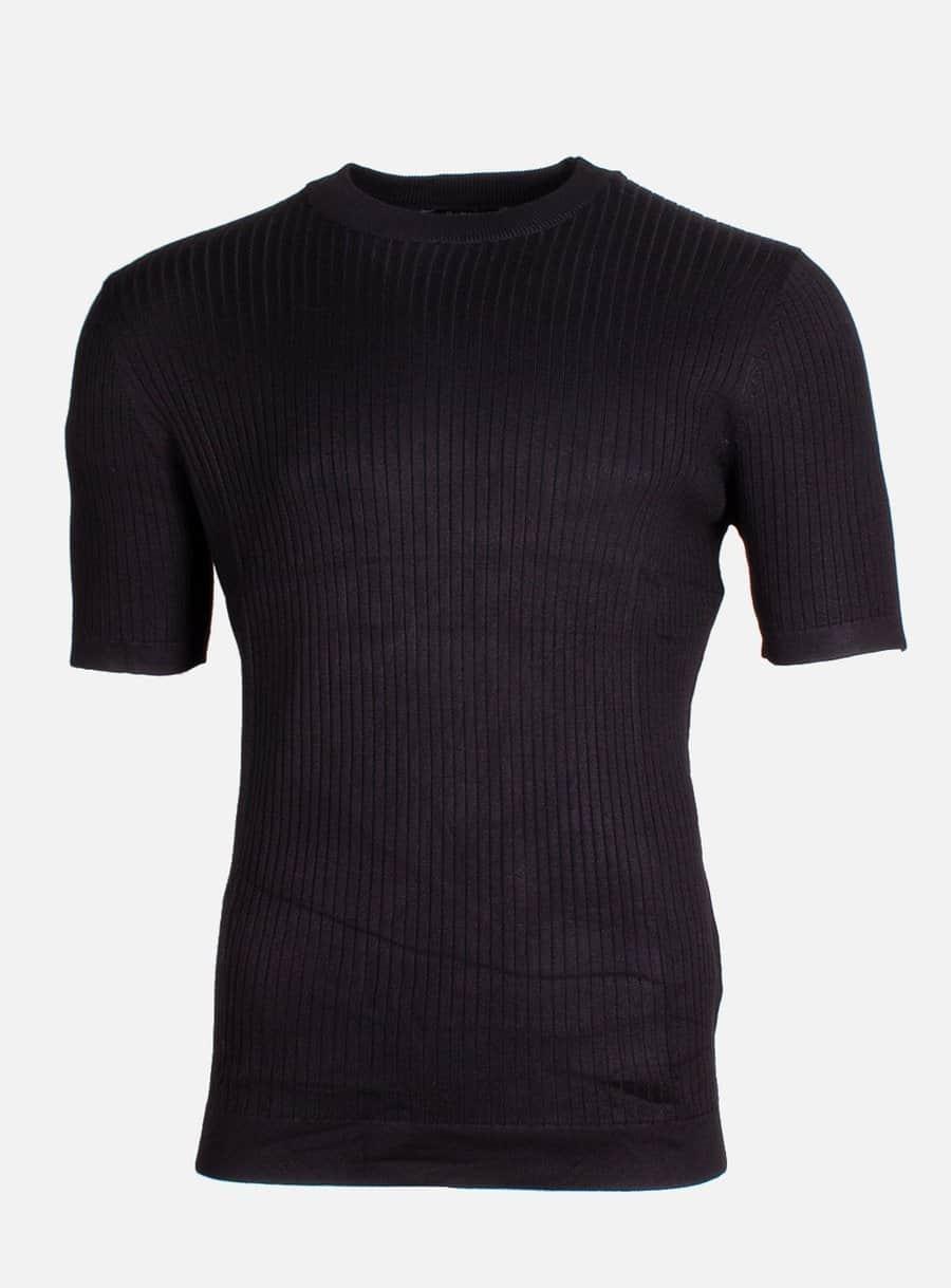 Black Pierluigi Tee Radical - zwart geribbeld shirt