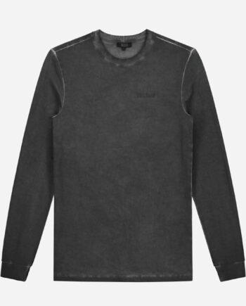Sustain Grey Regular Longsleeve - grijs gewassen shirt met lange mouwen