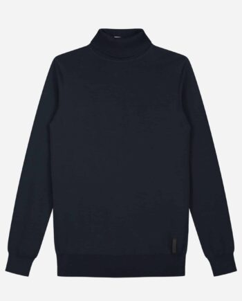 Navy Knitted Turtleneck Sweater Sustain - zwarte coltruin
