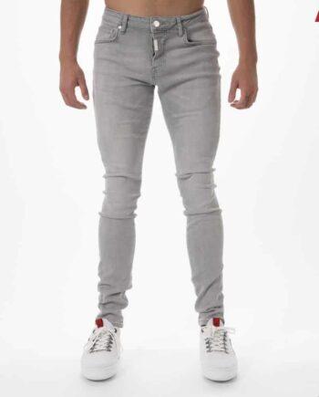 Grey Basic Stretch Jeans AB Lifestyle - grijze spijkerbroek met lichte wassing en badge op achterzak