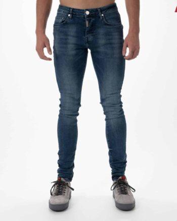 Basic Blue Stretch Jeans AB Lifestyle - blauwe spijkerbroek met lichte wassing en badge op de achterzak
